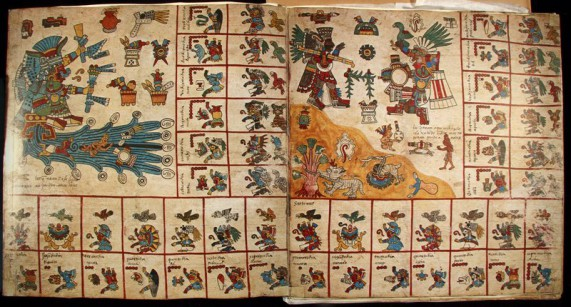 """Codex Borbonicus (facsimile edition) Graz, Austria: Akademische Druck - u. Verlagsanstalt, 1974  [Central Mexico, after 1521] A screenfold manuscript on amatl (bark paper), the Codex Borbonicus is a divinatory almanac (tonalamatl/day book) used to divine the future for both practical and ritual purposes. Each page represents a thirteen-day """"week"""" in a 260 day calendar; the ruling deities and symbols associated with the week are prominently displayed. In the boxes along the edge of each page, the named and numbered days (1 to 13 dots) of the week are accompanied by their governing supernaturals (birds and deities). A masterpiece of Aztec style, the Borbonicus is believed to have been made after the arrival of the Spanish. Note the Spanish words identifying the pictorial text of numbered days. Special Collections Research Center, University of Chicago Library"""